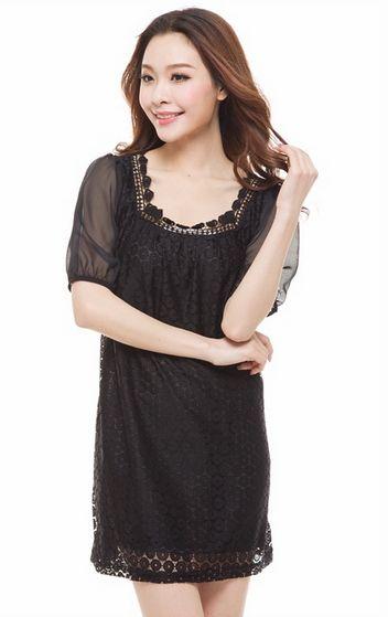 spring 2014 sheer shirts square collar roupas femininas short sleeve chiffon lace blouse black brown M-XXXL for summer (E-wear)