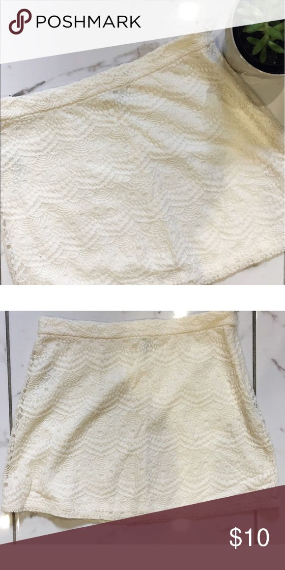 🌖FINAL PRICE🌖 F21 Off-white, Cream Lace Skirt This off-white, creamy lace skirt is perfect for the summer. It feels light and not too heavy to wear so you won't be sweating much as well. Forever 21 Skirts Mini