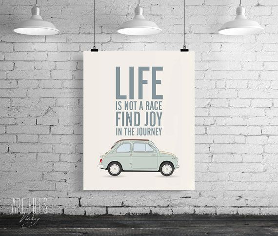 Printable art, Inspirational quote, Printable wall art decor, Life is not a race find joy in the journey, digital typography poster print.