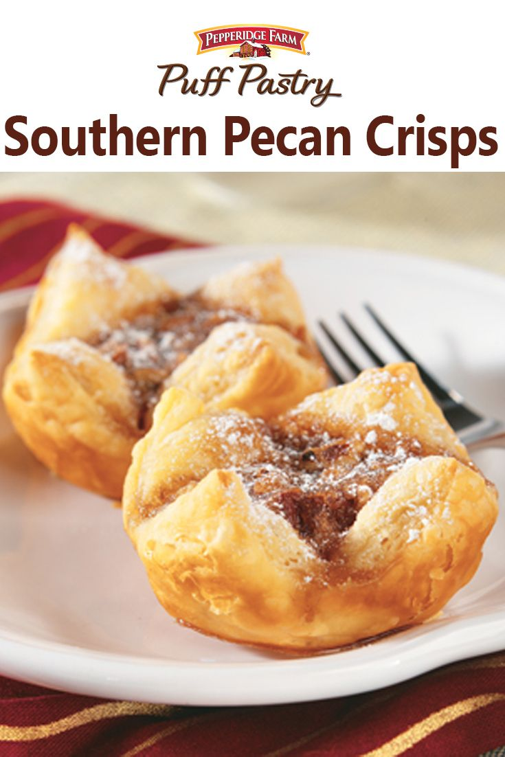 Pepperidge Farm Puff Pastry Southern Pecan Crisps Recipe. These easy mini pecan tarts feature Puff Pastry squares filled with brown sugar, butter and pecans. They're so delicious, you might want to double the recipe when holiday guests arrive!