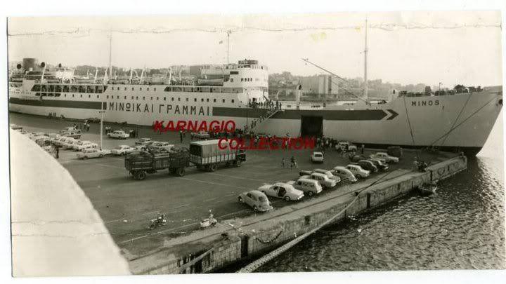 Το '' ΜΙΝΩΣ '' δεμένο στη προβλήτα. Στην αρχή ήταν tunker Σουηδικό με τ' όνομα SOYA MARGARETA. 16.075 τόννων. Αγοράστηκε από τον Κ. Ευθυμιάδη το 1964. Το 1974 από τις ΜΙΝΩΙΚΕΣ ΓΡΑΜΜΕΣ. Διαλύθηκε το 1984.