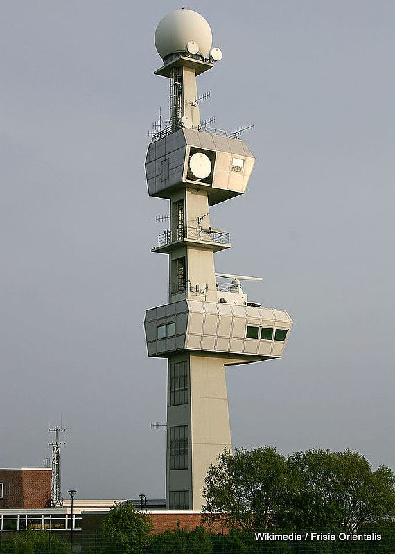 This is a three for one. Knock Lighthouse, Radar Tower and Radio Tower at the Ems Traffic Control Centre, East Frisia, Lower Saxony, Germany.