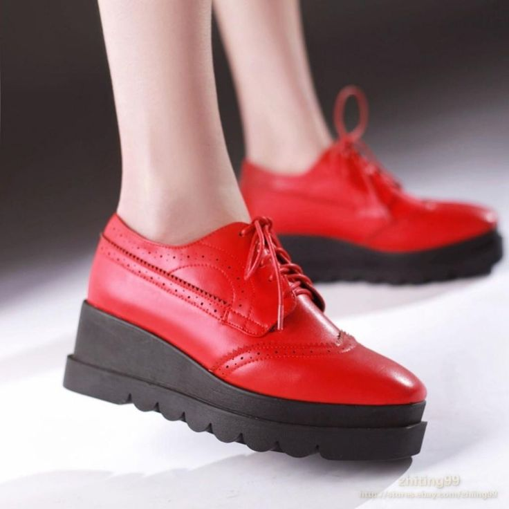 Womens Platform Brogues Wedges Heel Lace Up Shoes Retro Lady Mary Janes Pumps