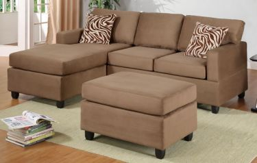 P7662 Saddle 7662 Microfiber Plush Sectional and Ottoman : Poundex : Sectional Sofas at comfyco.com furniture store
