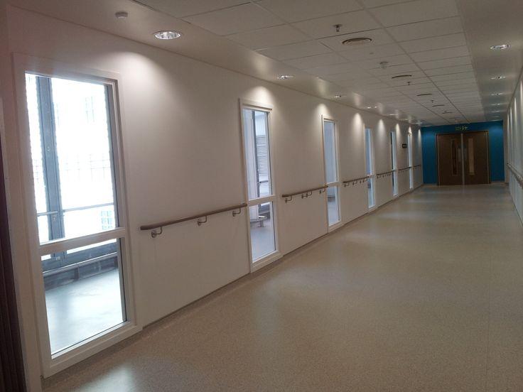Corridor on the 14th floor of The new Royal London Hospital