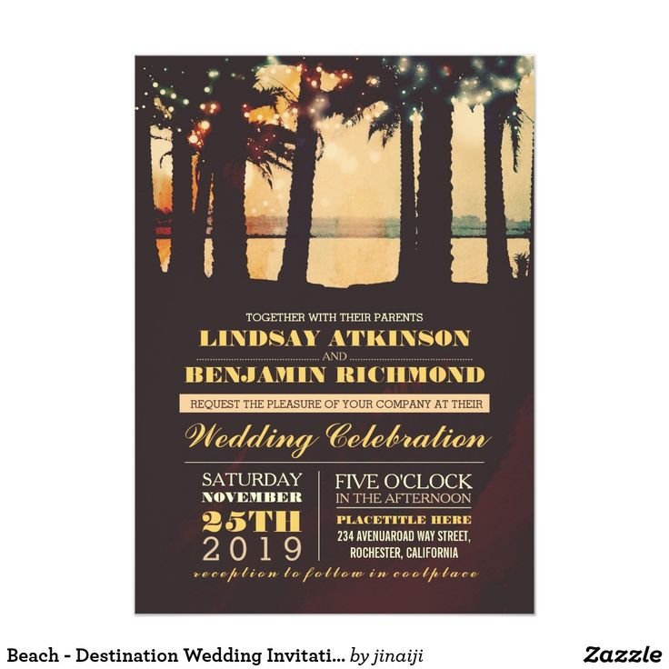 Beach - Destination Wedding Invitation Romantic seaside sunset beach wedding invitation with colorful string lights hanging on the palm trees. Modern yet vintage - old fashioned - retro invite for beach or destination wedding theme. ----If you push CUSTOMIZE IT button you will be able to change the font style, color, size, move it etc. it will give you more options! Contact me if you need more matching items or have a custom color request.