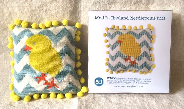 'Eggy' chick needlepoint mini kit for Easterby www.madinengland.com