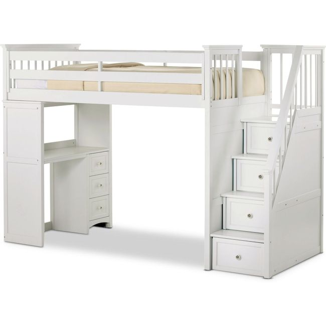 Flynn Loft Bed With Storage Stairs And Desk Bunk Beds With