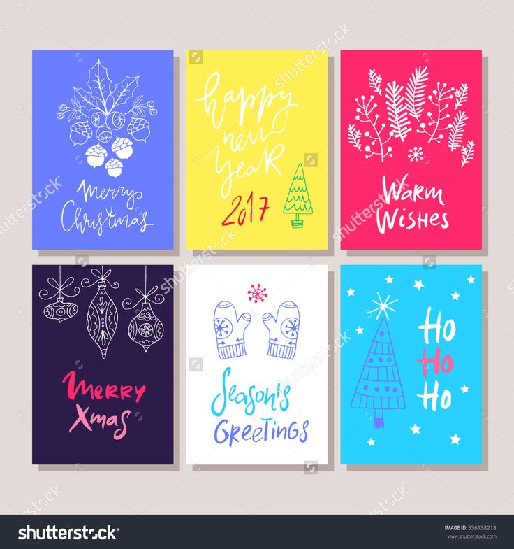 Hand Drawn Christmas Set Cards. Holiday Background.Unique Hand Drawn Greeting Cards.Vector Illustration. - 536138218 : Shutterstock