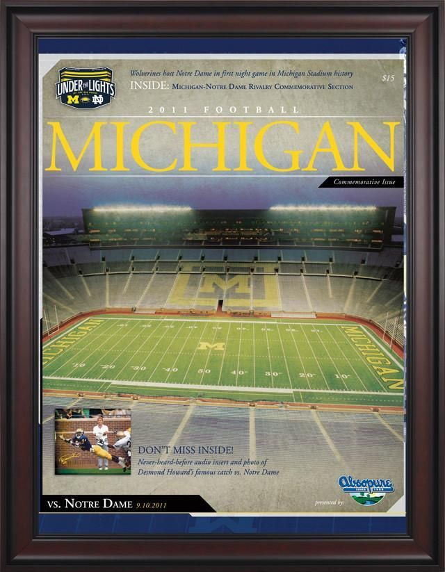 2011 Notre Dame Fighting Irish vs. Michigan Wolverines 1st Night Game 30 x 40 Framed Canvas Historic Football Poster
