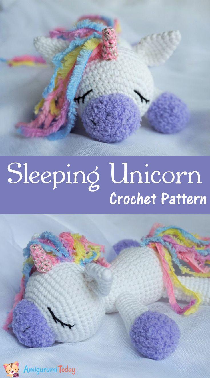Use this Sleeping Unicorn Pony Doll crochet pattern to create a wonderful plush toy. The crochet pattern is FREE!