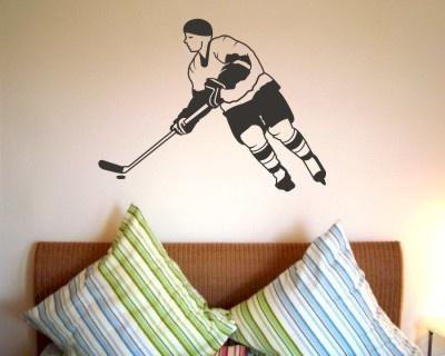 Wandtattoo Wandaufkleber Eishockey Spieler. Eishockey Spieler Wandaufkleber ab Größe 20cm, Walltattoo, Wallprint