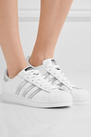 adidas Originals - Superstar Metallic-trimmed Leather Sneakers - White