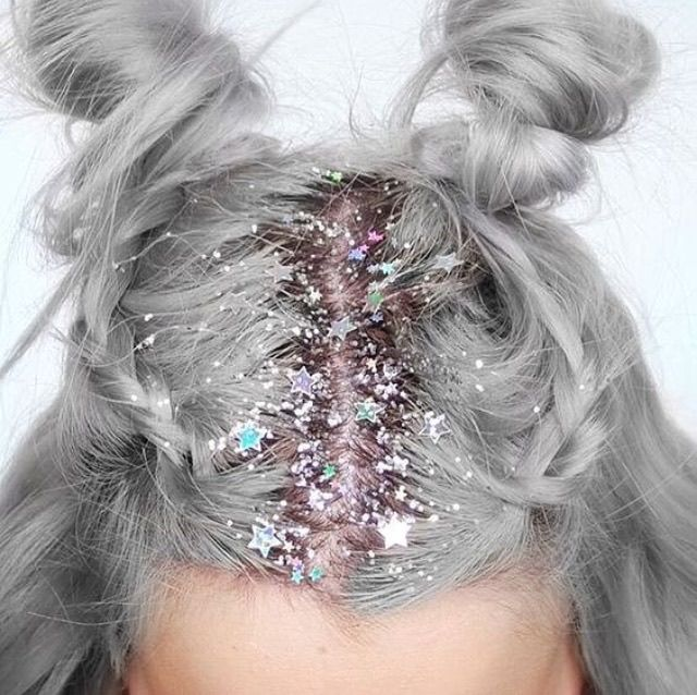 Glitter roots and buns                                                                                                                                                                                 More #GlitterParty