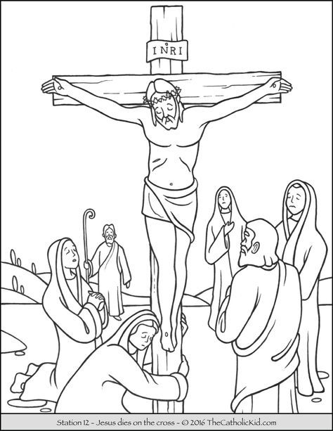 Stations of the Cross Coloring Pages 12 - Jesus dies on the cross ...