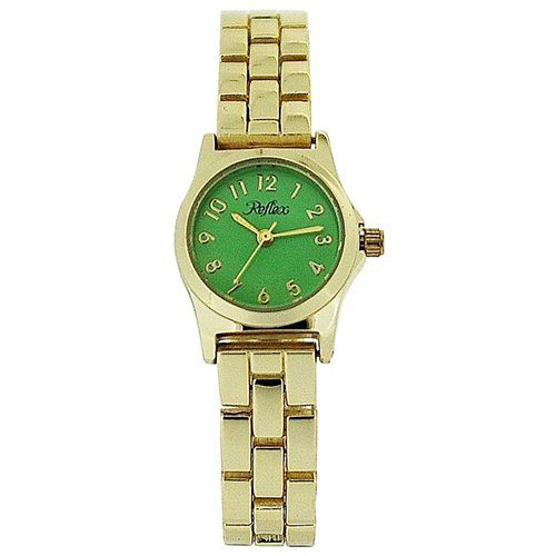 Reflex Ladies Analogue Green Dial & Yellow Tone Metal Bracelet Strap Watch LB106