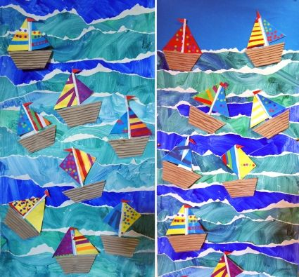Paper boats on painted torn paper background Artist: Junior Infants Age Group: 3-5 School: The Model School County: Limerick