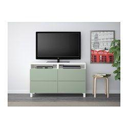mehrerer Öffnungen auf der Rückseite der TV-Bank lassen sich Kabel ...