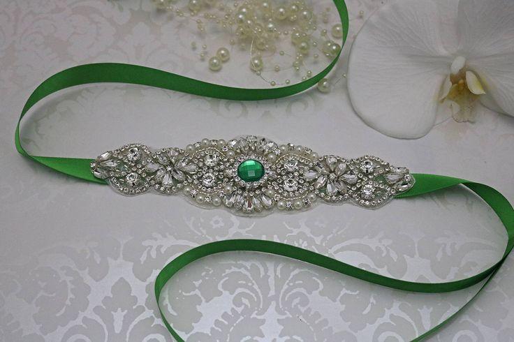 emerald green belt, crystal bridal sash, rhinestone bridal sash, bridal belt, beaded bridal belt, wedding sashes, emerald bridesmaid sash by ArentWeLovely on Etsy