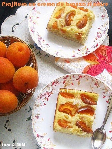 Prajitura cu crema de branza si caise e o prajitura rapida, usor de facut, cu fructe de sezon. Este asemanatoare cu Prajitura cu crema de branza si struguri si cu Prajitura cu crema de branz…