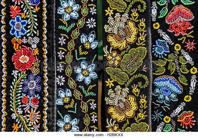 Belts for women embroidered traditional with Romanian patterns from Bistrita Nasaud area. - Stock Image