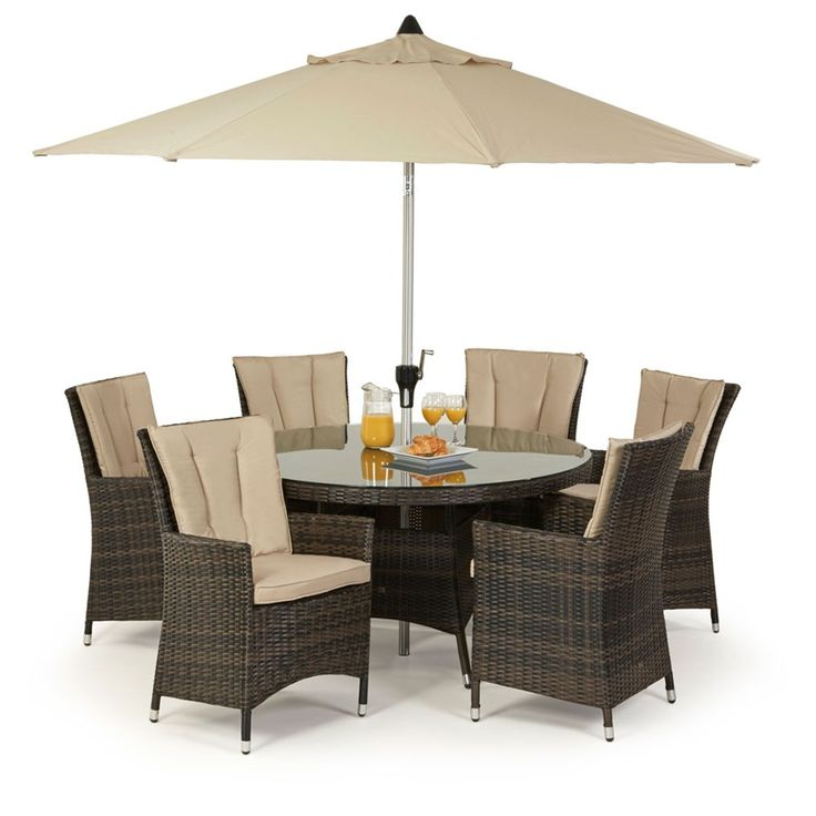 For stylish alfresco dining look no further than the LA 6 Round 6 Seat set. With highback LA armchairs complete with seat and back cushions and a safety glass topped dining table this is one of Maze Rattan's most popular dining sets. Handwoven all weather synthetic rattan ensures that you can use this set whenever the weather allows it as it's virtually maintenance free.