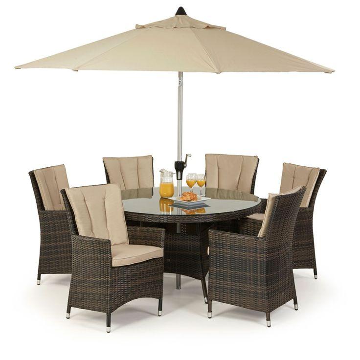Maze Rattan LA 6 Seat Round Rattan Garden Furniture Set