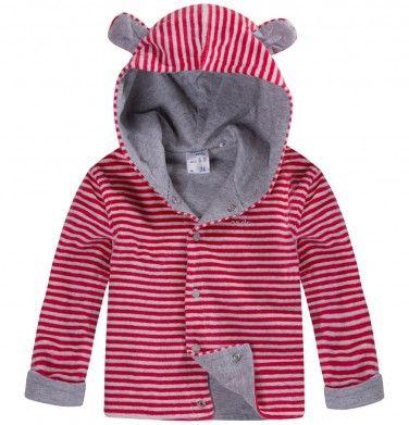 Dwustronna, welurowa bluza z uszami dla niemowlaka, kolekcja: Mini Endo paski