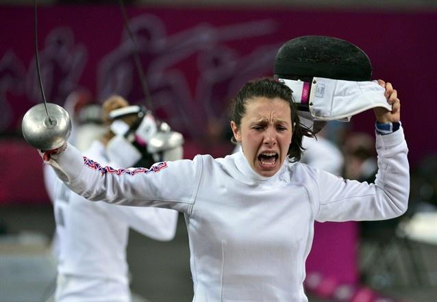 Britain's Samantha Murray reacts after winning a fencing match during the women's modern pentathlon.