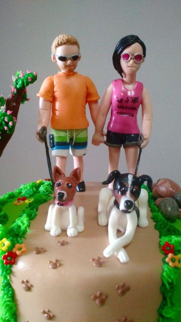 Tarta de paseo con los perros 2| De Perla's | Tartas fondant personalizadas en Málaga