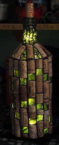 I AM making one of these - - wine bottle light w/corks!  So cool! :)  Really Really Cool Cork Lamp!