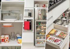 O segredo para abrigar todos os utensílios usados pela família na pequena cozinha da psicóloga Patricia Cuiabano foi criar compartimentos e divisórias, aproveitando bem cada espaço disponível. Conf…