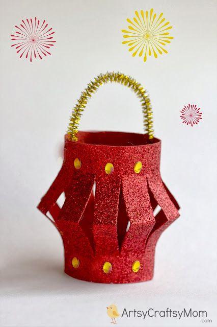 Diwali paper lantern | 40+ Diwali Ideas   Cards, Crafts, Decor, DIY | India Crafts Glitter crafts foam Diwali