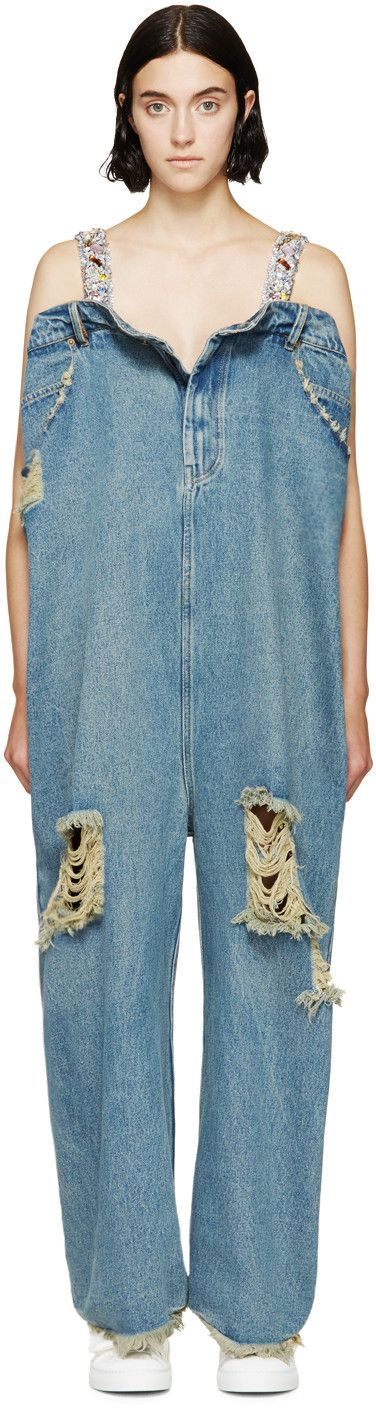 "Hell No! I know it's ""high fashion"" but .             (Ashish Blue Oversized Jean Jumpsuit)"