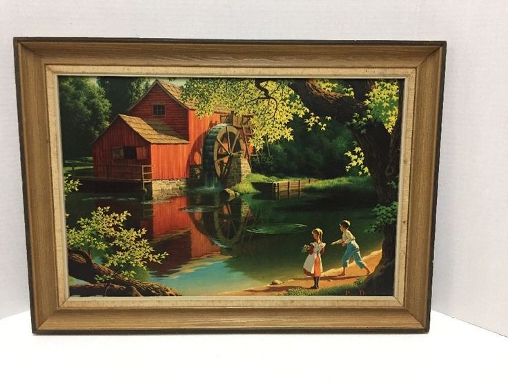 Paul Detlefsen Vintage Print Old Mill Stream 15 x 21 Inches Framed #Realism