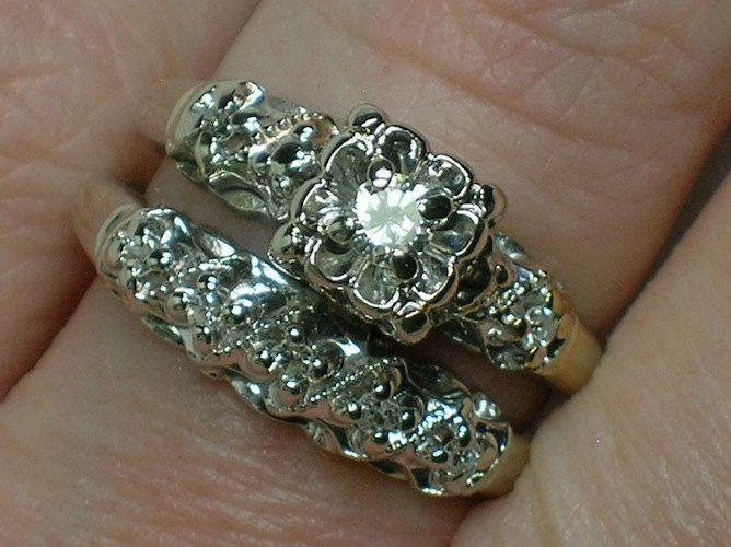 vintage wedding ring set ornate 1940s white gold illusion head - Antique Wedding Ring Sets