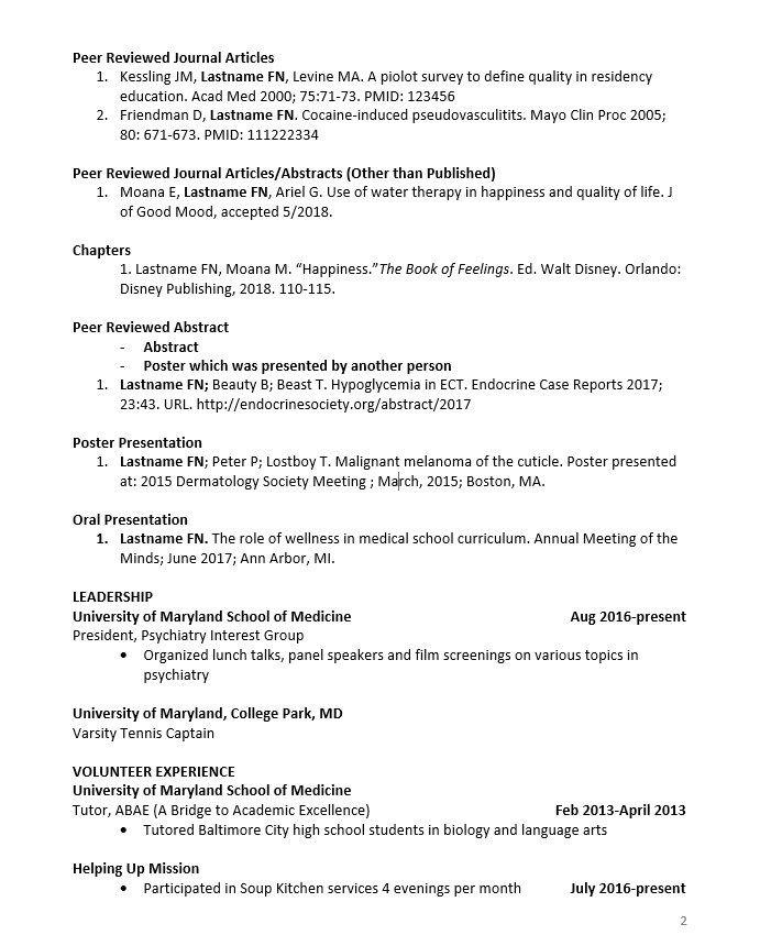 Cv Preparation Tips University Of Maryland School Of Medicine School Of Medicine Student Resume Template Cv Design Template