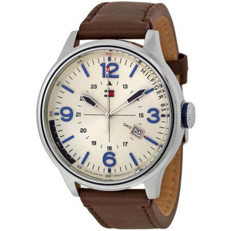 Tommy Hilfiger Leather Mens Watch 1791102, Silver
