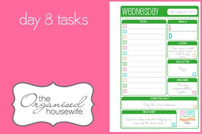 {The Organised Housewife} 20 Days to Organise and Clean your Home - Day 8 tasks