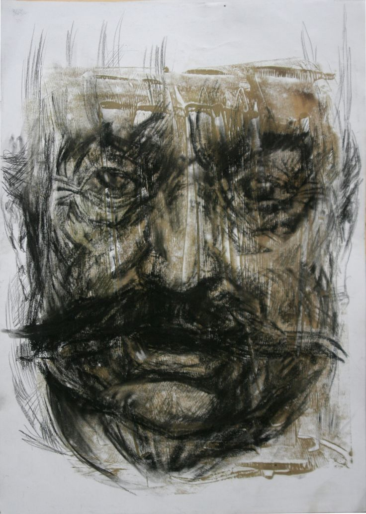artwork by Ali pirooz . Naser-din-shah portrait.  Mix media on paper. 29.5x42 cm. 2011.  Drawing Portrait , oil and conte charcoal