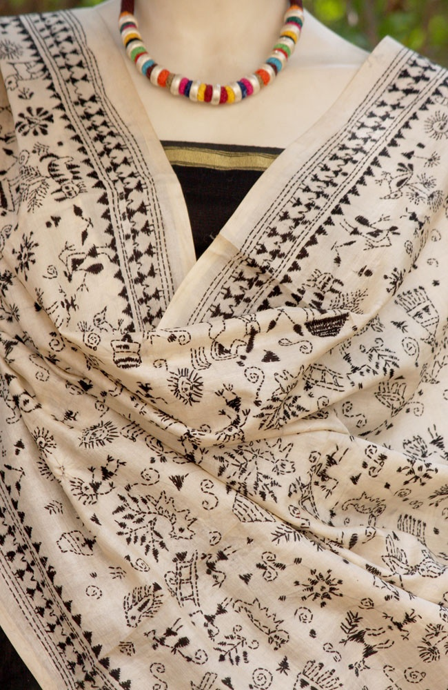 Stunning Tussar Silk Dupatta with Kantha work