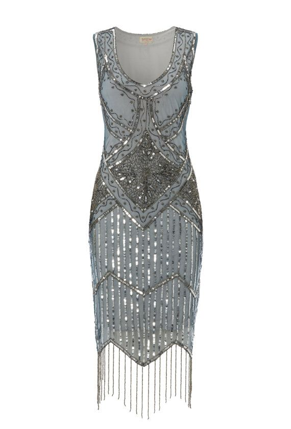 Bought my 1920s dress today!  Blue Grey Vintage inspired 1920s vibe Flapper Great Gatsby Beaded Charleston Sequin Deco Wedding Party  Fringe Dress New Hand Made