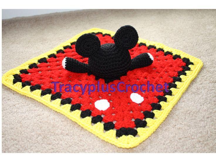 Mouse snuggle blanket. Black mouse. Crochet Mickey Mouse inspired security blanket. Mickey Mouse inspired lovey blanket. Handmade to order.. by TracyplusCrochet on Etsy https://www.etsy.com/listing/188314609/mouse-snuggle-blanket-black-mouse