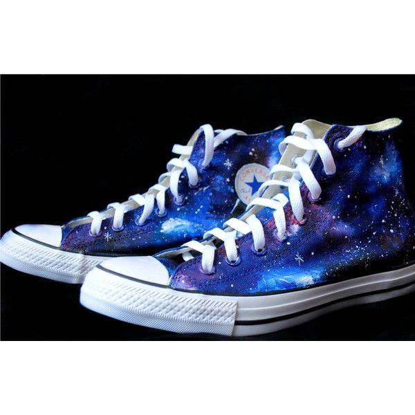 Custom handpainted galaxy shoes, galaxy Converse, galaxy Vans ($39) ❤ liked on Polyvore featuring shoes, waterproof footwear, nebula shoes, waterproof shoes, planet shoes and flexible shoes
