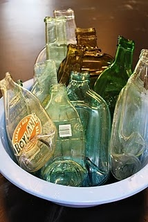 Melted glass bottles