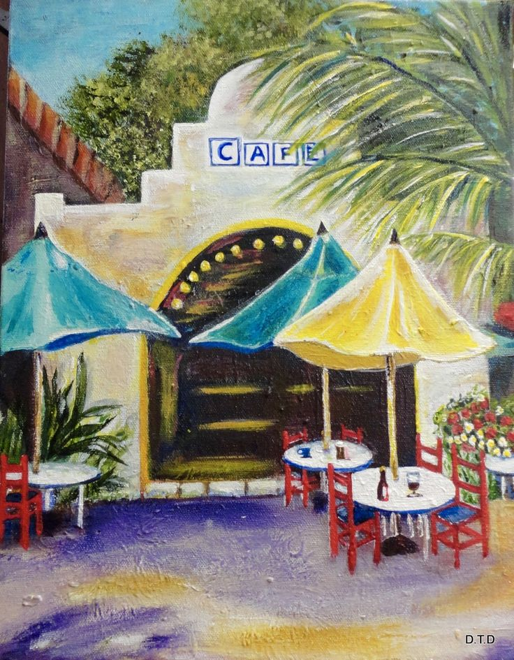 D. painted this colorful Cabos Cafte scene from the video library at http:/