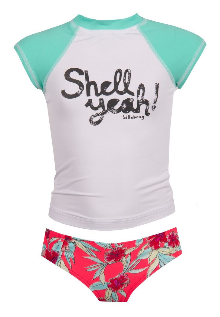 Billabong Girls Shell Ya! Short Sleeve Rashguard Swimsuit Set