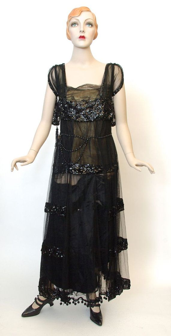 Black net sequin and beaded evening gown c. 19171918 by kickshaw, $175.00