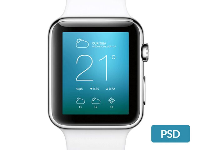 A simple Apple Watch mockup created with Photoshop vector shapes. Free PSD released by Daniel Macedo.