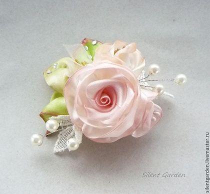 """Брошь """"Розовый рассвет"""" - розовый,брошь цветок,брошь из лент,ручная авторская работа"""